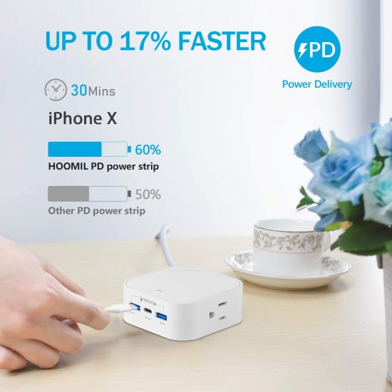 Power Strip With USB C, HOOMIL Fast Charging Travel Power Strip