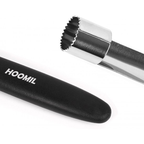 HOOMIL Premium Apple Corer - Easy to Use and Clean, Stainless Steel Apple Core Remover with Serrated Slice and Rubber Handle, Remover Tool for Apples & Pears, 2 Pack