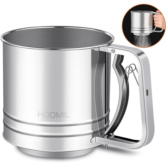 HOOMIL Flour Sifter, Baking Stainless Steel Flour Sieve Cup, 5 Cup with Hand Press Design, Mesh Crank Baking Sifter with 3 Layers Mesh Sieve Kitchen Cooking for Sugar, Flour and Coffee Powder