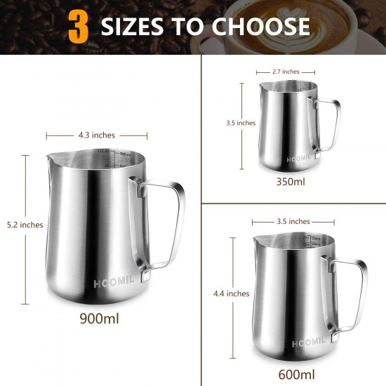 HOOMIL Milk Frothing Jug 350ml/600ml/900ml (12oz/20oz/32oz) Stainless Steel Milk Pitcher Cup Barista Milk Jug and Latte Decorating Art Pen for Making Coffee Cappuccino Frothing Milk Coffee Machine