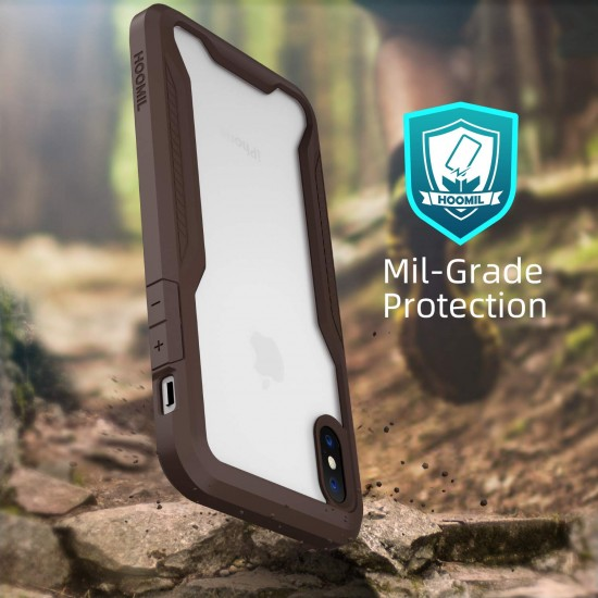Shock Absorption Bumper Case Compatible with iPhone Xs/X(Transparent Dark Brown)