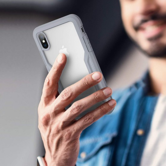 Shock Absorption Bumper Case Compatible with iPhone Xs/X(Transparent Gray)