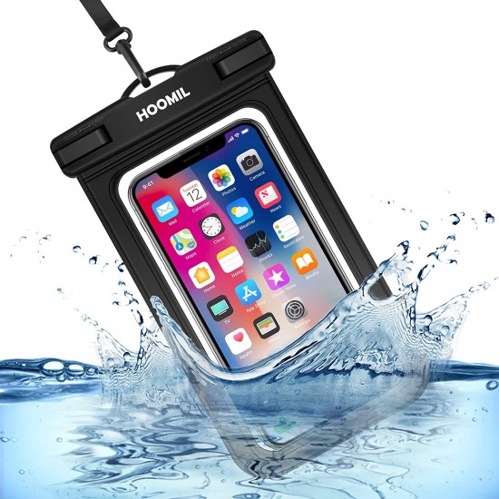 HOOMIL Universal Waterproof Case, IPX8 Waterproof Phone Pouch Dry Bag Compatible for Samsung Galaxy Note 10/9/A30/A20/A10/A50/A70/iPhone XR/XS/X up to 6.5 inches - Black