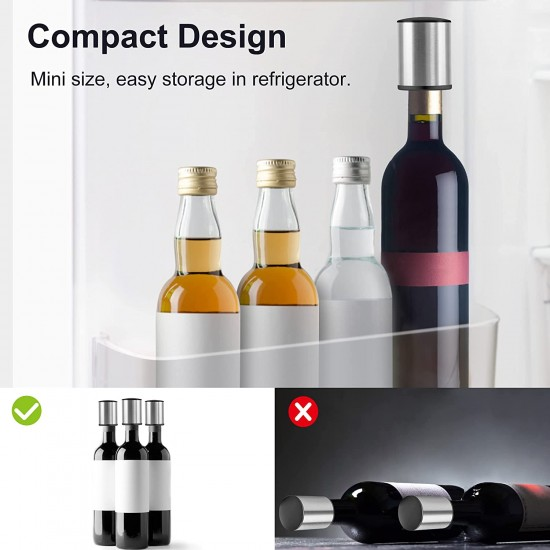 Wine Bottle Stopper, HOOMIL Stainless Steel Wine Stopper with Sealed Silicone Vacuum Wine Stopper for Wine Bottle - Silver