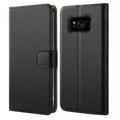 HOOMIL Case Compatible with Samsung Galaxy S8, Premium Leather Flip Wallet Phone Case for Samsung Galaxy S8 Cover (Black)