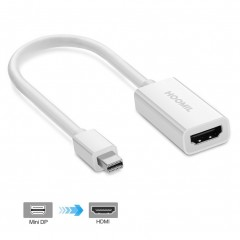 HOOMIL Mini DisplayPort to HDMI Adapter (Thunderbolt Port Compatible) - 1080p Full HD 3D (White)