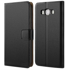 Galaxy J7 2016 Case, HOOMIL [Slim Fit] Premium Leather Wallet Case Flip Cover for Samsung Galaxy J7 (2016) J710 - Black