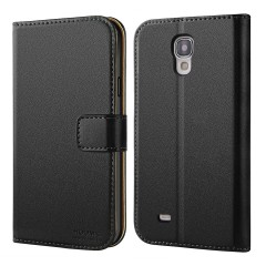 Galaxy S4 Case, HOOMIL Premium Leather Wallet Case Cover for Samsung Galaxy S4 (Black)