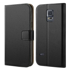 Galaxy S5 Mini Case, HOOMIL Premium Leather Wallet Phone Case Slim fit Protective for Samsung Galaxy S5 Mini (2014) Cover - Black