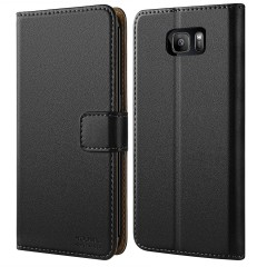 Galaxy S7 Edge Case, HOOMIL [Wallet-style] Premium Leather Wallet Case Slim fit Protective for Samsung Galaxy S7 Edge (Black)