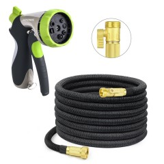 Garden Hose Nozzle, HOOMIL Heavy Duty 50 Feet Expandable Water Hose, 8 Adjustable Watering Patterns Spray Nozzle