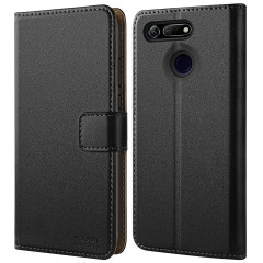 HOOMIL Case Compatible with Honor View 20, Premium Leather Flip Wallet Phone Case for Huawei Honor View 20 Cover (Black)