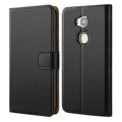 Huawei Honor 5X Case, HOOMIL Premium Leather Case for Huawei Honor 5X Phone Wallet Case Cover (Black)