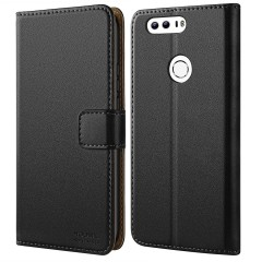 Huawei Honor 8 Case, HOOMIL Premium Leather Case for Huawei Honor 8 Phone Wallet Case Cover (Black)