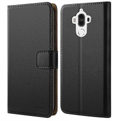 Huawei Mate 9 Case, HOOMIL Premium Leather Case for Huawei Mate 9 (2016) Phone Wallet Case Cover (Black)