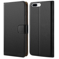 iPhone 7 Plus Case, iPhone 8 Plus Case, HOOMIL Premium Leather Wallet Phone Case Slim fit Protective for Apple iPhone 7 Plus (2016) / iPhone 8 Plus (2017) Cover - Black