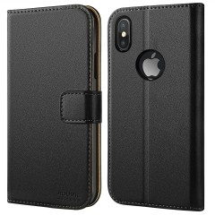 iPhone X Case, iPhone 10 Case, HOOMIL Premium Leather Wallet Phone Case Slim fit Protective for Apple iPhone X (2017) Cover - Black